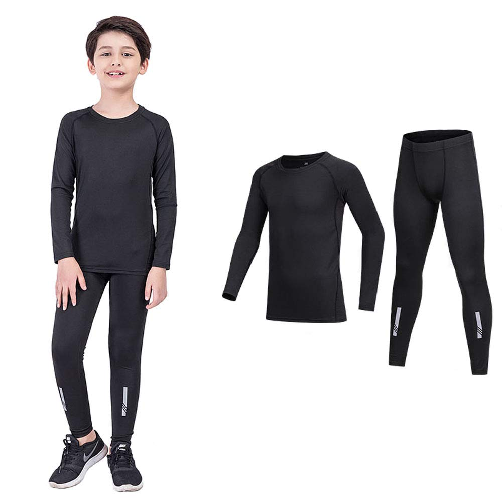 BUYKUD Kids Boys 3PCS Long Sleeve Base Layer Compression Athletic Shirt Tights Top /& Bottom Underwear Sports Set
