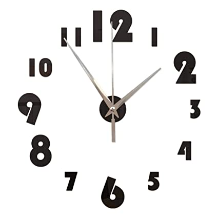 GOUZI Acrílico Reloj Digital de Pared Pared Pared removible Adhesivo Adhesivo para la Pared de Fondo