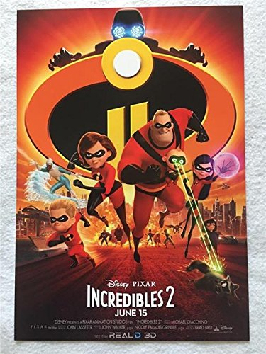 "THE INCREDIBLES 2 Original Promo Movie Poster 9""x13"" Real D 3D Pixar 2018"