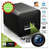 USB Wall Charger Hidden IP Indoor Security Spy Camera 2MP System. Wireless Video Surveillance Gear w/WIFI Charging Dock Station Port, Up To 128GB Micro SD Card Capacity, Phone App w/Insta-Lurk(tm) Cam