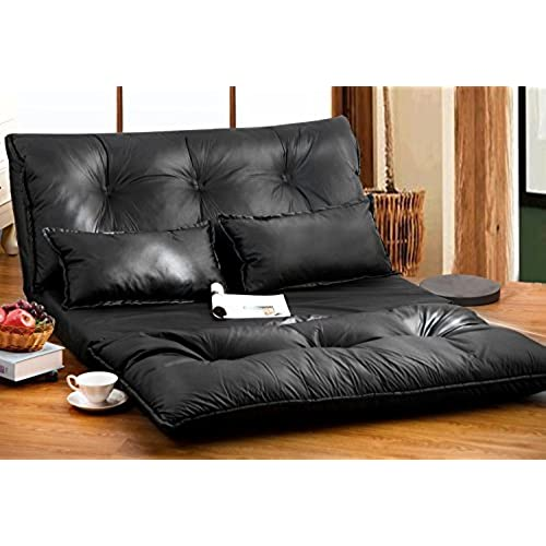 Merveilleux Merax Pu Leather Foldable Modern Leisure Sofa Bed Video Gaming Sofa With  Two Pillows, Black