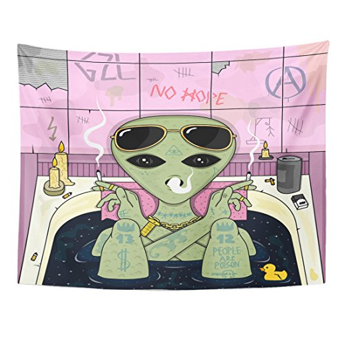 Emvency Tapestry Trippy Alien Smoke and Chill in Bath Cigarette Glasses Home Decor Wall Hanging for Living Room Bedroom Dorm 60×80 Inches