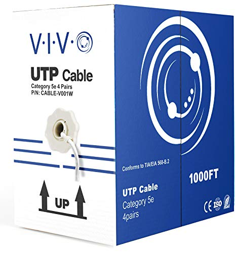 (VIVO White 1,000ft Bulk Cat5e, CCA Ethernet Cable, 24 AWG, UTP Pull Box | Cat-5e Wire, Indoor, Network Installations (CABLE-V001W))