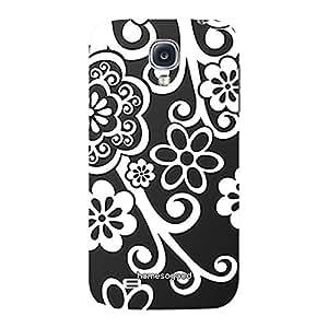 HomeSoGood Floral Abstract Black 3D Mobile Case For Samsung S4 ( Back Cover)