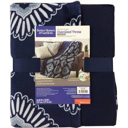 Better Homes And Gardens Oversized Indigo Polyester Reversible Velvet Plush Throw Blanket