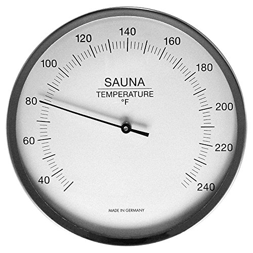 "Fischer Sauna Thermometer 5.1"", 197-01F (USA-Version, °F) - Made in Germany"