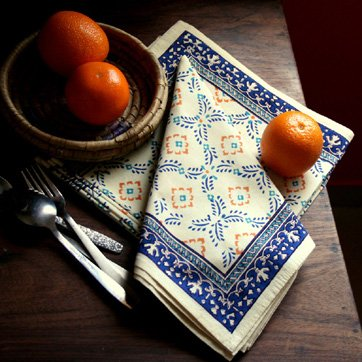 Morning Dew ~ Yellow Blue French Cotton Dinner Napkins