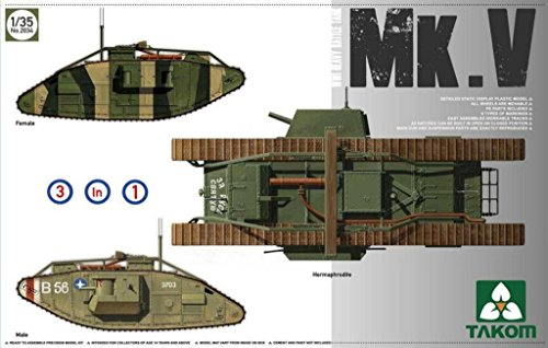 TAKom 1:35 WWI Heavy Battle Tank Mk.V 3 in 1 Plastic Model Kit #2034