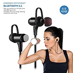 Bluetooth Headphones, Ansion Wireless Bluetooth 4.1 Sport Headset IPX5 Sweat-proof Stereo Magnetic Earbuds Noise Isolating In Ear Earphones, Secure Fit for Work Out,Running,Gym with Built-in Mic