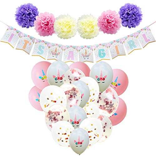 (WERNNSAI Baby Shower Decorations for Girl - Unicorn Theme Party Supplies Set IT'S A Girl Banner Paper Pom Poms Confetti Balloons Pink White Latex Balloons Ribbons)