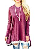 Miskely Women's Long Sleeve Lace Tunic Tops Round Neck Loose Blouse Casual Swing Cotton T-Shirt for Leggings (XXL, A Wine Red)