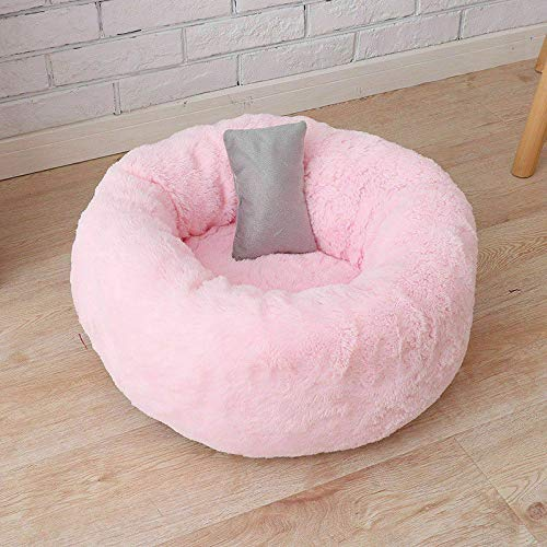 Dragon Honor Marshmallow Bed for Puppy and Cat with Pillow - Donut Cuddler Soft, Comfy and Fluffy (5050cm, Pink)