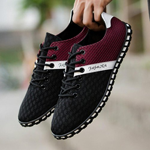 VEMOW Sports Outdoor Shoes for Men, Trainers Flats Flip Flops Thongs Espadrilles Wedge Running Walking, New Style Fashion Casual Mesh Comfortable Breathable Sneakers Shoes Black