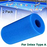 Houkiper Pool Filter Cartridge for Intex Type A,2 Pack Filter Sponge Reusable Washable Filter Cleaner Tool Foam Cartridge Sponge Compatible with Intex Type A