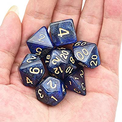 cusdie Polyhedral Dice Sets DND Glitter Dice for Dungeons and Dragons Pathfinder RPG MTG Table Gaming Dice (Blue&Black): Sports & Outdoors