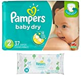 Pampers Baby Dry Size 2 Disposable Diapers - 37 count (3 Layers of Protection) + Sensitive Wipes Travel Pack 18 ct