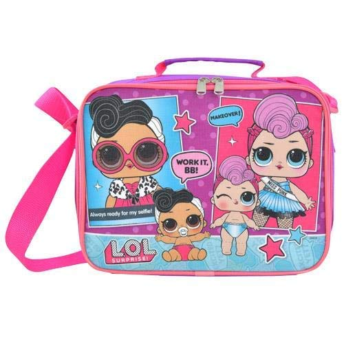 UPD LOLLB LOL Surprise! Glam Club Soft Insulated Pink Lunchbox Lunch Bag -Doll Face &Miss Punk, 9.5 x 8 x 3 in., - Miss Lunch