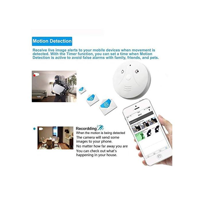 Hidden Spy Camera QUANDU WiFi Smoke Detector Hidden Camera DVR Mini Nanny  Cam with Motion Detection for Home Security Surveillance Apps for