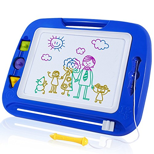 SGILE Magnetic Drawing Board, 13X16 Non-Toxic Big Magnetic Erasable Magna Doodle Toy, Assorted Colors Writing Painting Sketching Pad for Toddler Boy Girl Kids Skill Development, Blue( Extra Large)