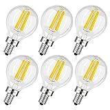 Albrillo E12 LED Candelabra Bulb 4W, 40 Watt Light Bulbs Equivalent, Warm White 2700K, 6 Pack