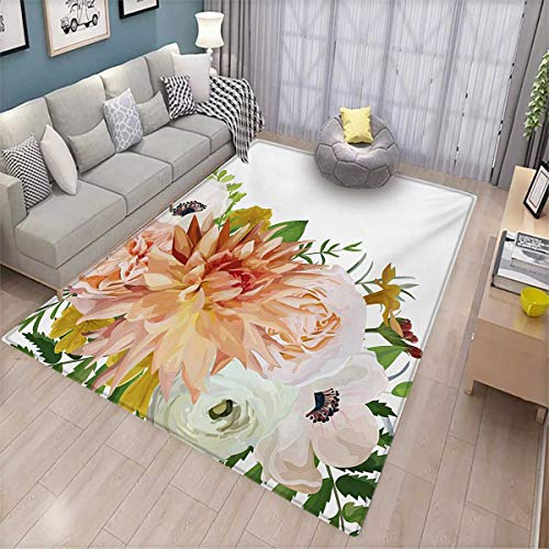 (Anemone Flower Floor Mat for Kids Garden Rose Dahlia Forest Meadow Bedding Plants Leaves Mix Bath Mat Non Slip 5'x6' Salmon Fern Green Khaki)