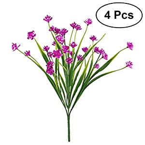 WINOMO 4pcs Artificial Daffodils Flowers Simulation Greenery Shrubs Plants Plastic Bushes Wedding Home Decor (Rose Red) 42