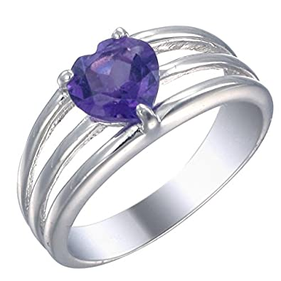 Sterling Silver Amethyst Heart Ring 1 CT Size 8