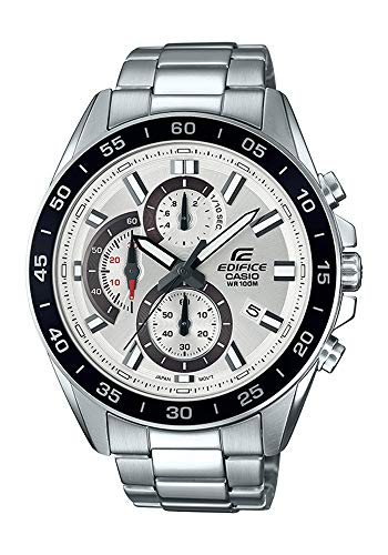 Casio Men's Edifice Quartz Watch with Stainless-Steel Strap, Silver, 4 (Model: EFV-550D-7AVCR ()