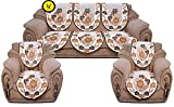 Yellow Weaves 6 Piece Sofa and Chair Cover Set , Color -Off White & Brown