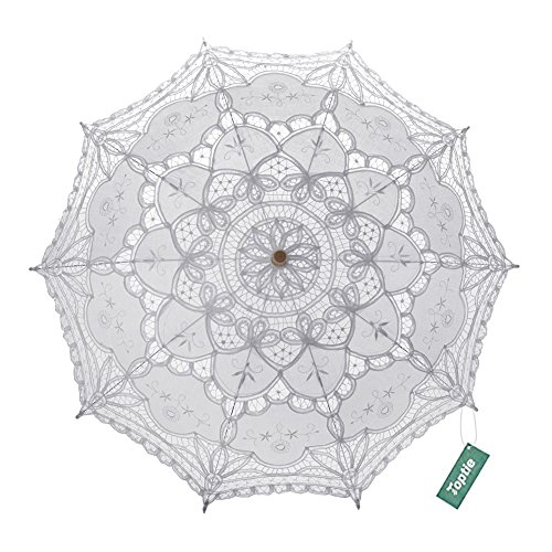 TopTie Wedding Lace Parasol Umbrella Vintage Bridal Costume Accessory Photo Prop For Wholesale-White-1 Pc