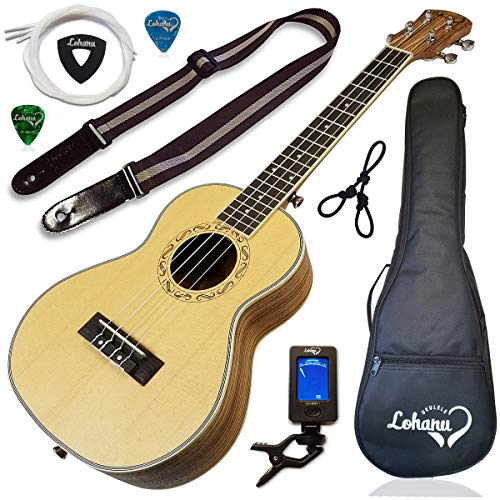 Ukulele from Lohanu Spruce Top Zebra Wood Sides & Back With All Accessories Included! (Tenor Size)