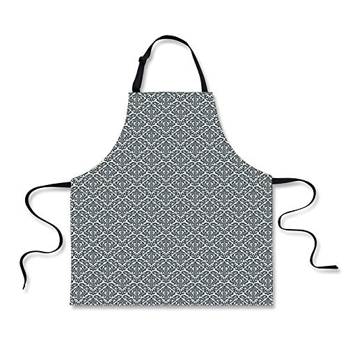 Cooking Apron,Damask,Monochrome Revival Pattern Natural Insp