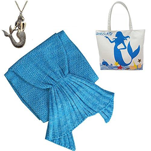 [URSKY Handmade Crochet Knitted Snuggle Mermaid Tail Blanket For Adult, Children, Teens, All Seasons Sofa Living Room Sleeping Bag Blanket (35.5