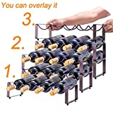 3 Tier Stackable Wine Rack, Countertop Cabinet Wine Holder Storage Stand - Hold 12 Bottles, Metal