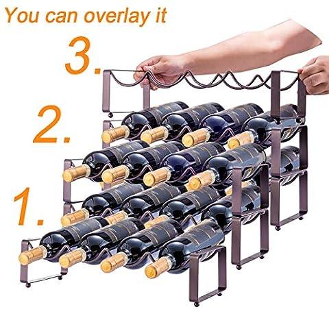 3 Tier Stackable Wine Rack, Countertop Cabinet Wine Holder Storage Stand – Hold 12 Bottles, Metal (Bronze)