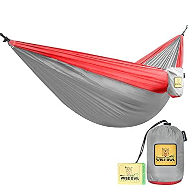 The Ultimate Double Camping Hammocks- The Best Quality Camp Gear For Backpacking Camping Survival & Travel- Portable Lightweight Parachute Nylon (Grey & Red)