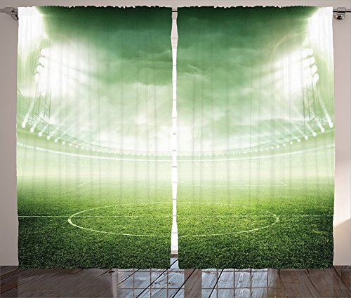 Sports Decor Curtains Illuminated Stadium under Spot Lights Night Football Arena Activity Grass Playground Picture Living Room Bedroom Decor 2 Panel Set Green 120x66