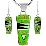 925 Sterling Silver Matching Pendant & Earrings Set with Genuine Turquoise & Gemstones 20'' Necklace (Green Turquoise)