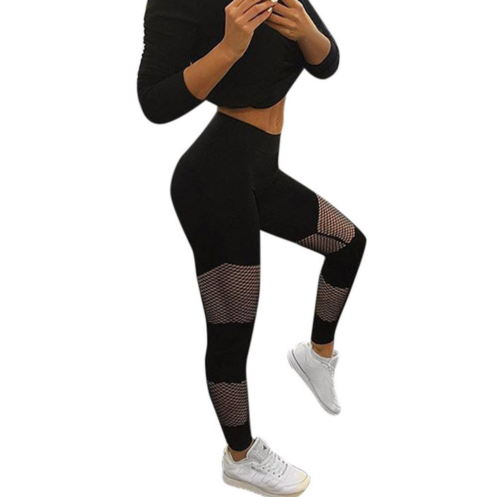 ✅Zalanala Stitching Fishnet Yoga Pants Running Sports Women Leggings Gym Clothing Fitness Tight