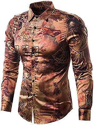 W&TT Camisa De Hombre, Camisa Estampada De Manga Larga con Estampado Floral Vintage,Multicolored,M: Amazon.es: Hogar