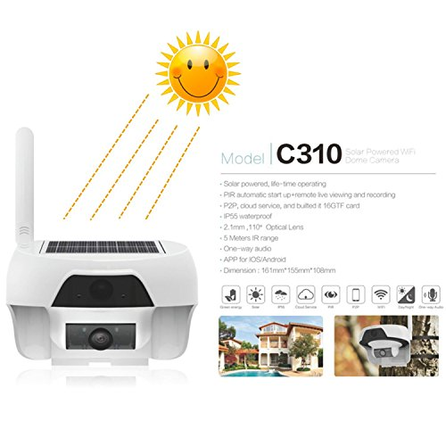 Solar Powered Wireless WiFi Security Camera 720P Cable-less IP Network Surveillance System Remote Control Web Cam Wire-Free Water Proof Outdoor Dome Camera with Built in 16GB TF Card by freecam (Image #1)