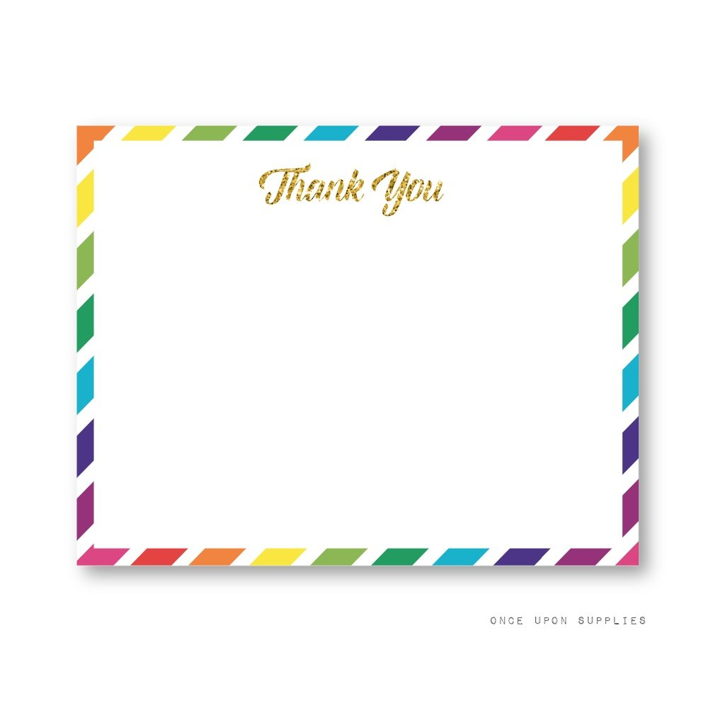 Rainbow Unicorn Thank You Cards by Once Upon Supplies, Unicorn Birthday Party Supplies and Decoration, 5.5x4.25 Inches, Set of 20 Flat Cards, With Envelopes