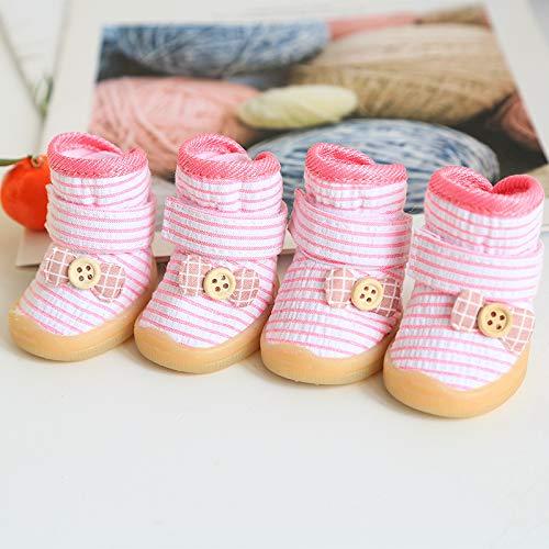 DUDUXING Botón de Rayas con Arco Zapatos para Perros Zapatos para ...