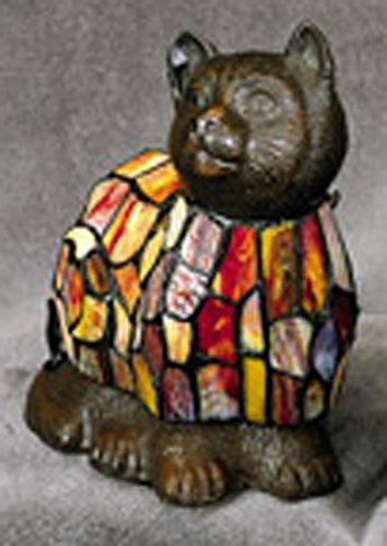 Multicolor Tiffany-Style Cat Lamp - - Cat Tiffany The
