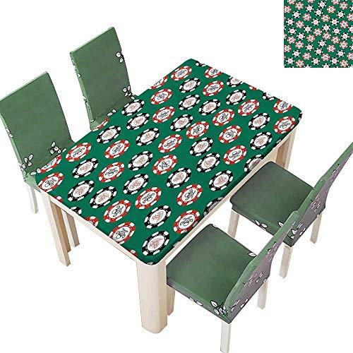 Printsonne Table in Washable Polyeste Poker Chips Pirate s ey Cross B Skull Risk Wedding Party Restaurant 54 x 120 Inch (Elastic Edge) -