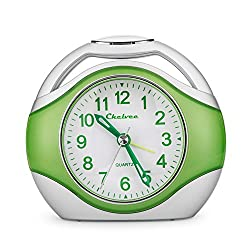 Chelvee Alarm Clock, Portable Quartz Analog Alarm Clock for Kids and Traveler, Night Light, Snooze, Non-Ticking, AA Battery Powered (Green)