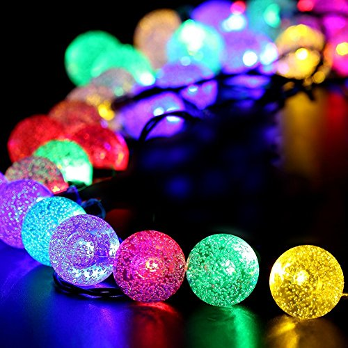 GoZheec Solar String Light 23 ft 50LED Crystal Ball Waterproof String Lights Solar Powered Fairy Lighting for Garden Home Landscape Holiday Decorations(colorful)