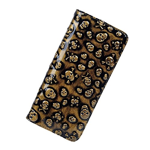 womens-classical-leather-skull-designer-clutch-purses-wristlet-wallets-gold