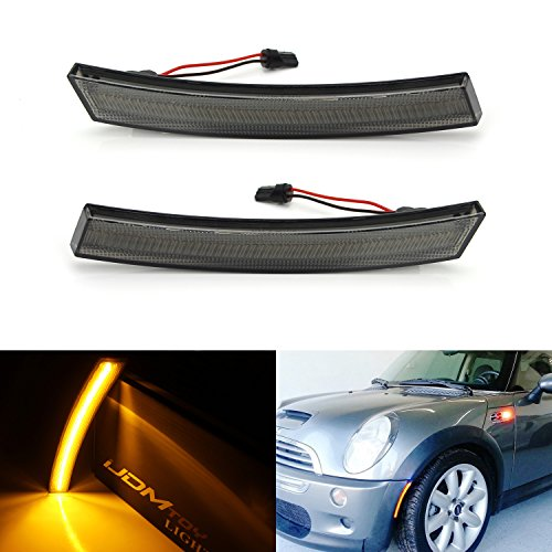 iJDMTOY (2) Euro Smoked Lens Amber LED Front Side Marker Lights For 1st Gen 2002-2008 MINI Cooper R50 R52 R53 (For Front Bumper Sidemarker) (Repeater Amber Side)