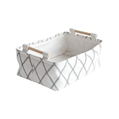 LUFOFOX Decorative Collapsible Rectangular Fabric Storage Bin Organizer Basket with Wooden Handles for Clothes and Toy Storage(12.6x8.7x4.7 inch)